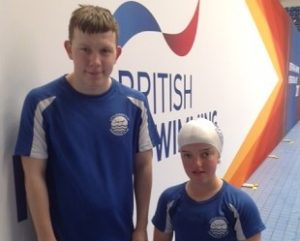 Caleb Grace and Georgie Howell at the British Para-Swimming International Meet
